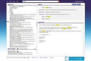 Suche in den Gruppenrichtlinien über die gpsearch Webseite von Microsoft