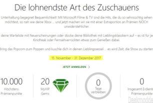 Mit Microsoft Movies & TV Xbox Reward-Punkte und MyVIP Edelsteine sammeln und einlösen
