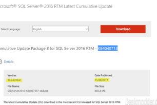 SQL Server 2016:  KB4040713 Kumulatives Update 8 vom 20.11.2017
