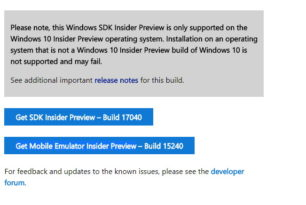 Windows 10 17040 SDK, WDK, EWDK, ADK und HLK stehen zum Download bereit