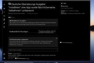 Feedback Hub – Antwort auf einen Kommentar nun möglich (AppX)