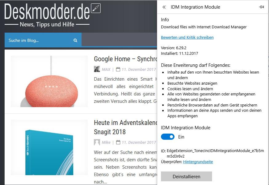 Internet Download Manager App für den Microsoft Edge
