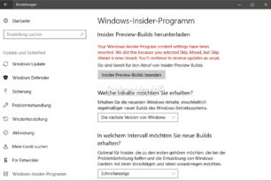"Windows 10 Insider Skip Ahead wurde nun beendet [2.Update Workaround] ""Insiders settings reverted"" eine Fehlermeldung"