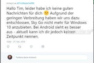 Sky Go App für Windows und Windows Phone wird entfernt [Update auch in Deutschland]