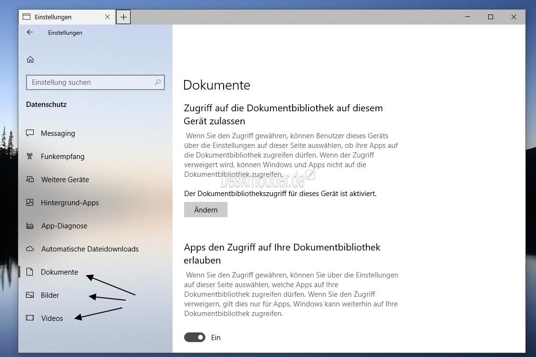 Datenschutzeinstellungen in der Windows 10 1803 weiter