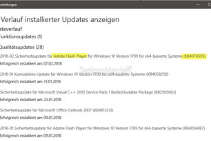 KB4074595 Flash Player Update Februar für Windows 10, 8.1, 8, LTSB und Server