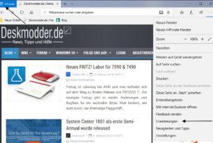 Microsoft Edge: InPrivate Fenster mit Erweiterungen starten
