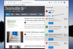 Windows 10 1803 Microsoft Edge mit vorgeschlagenen Erweiterungen in den Einstellungen