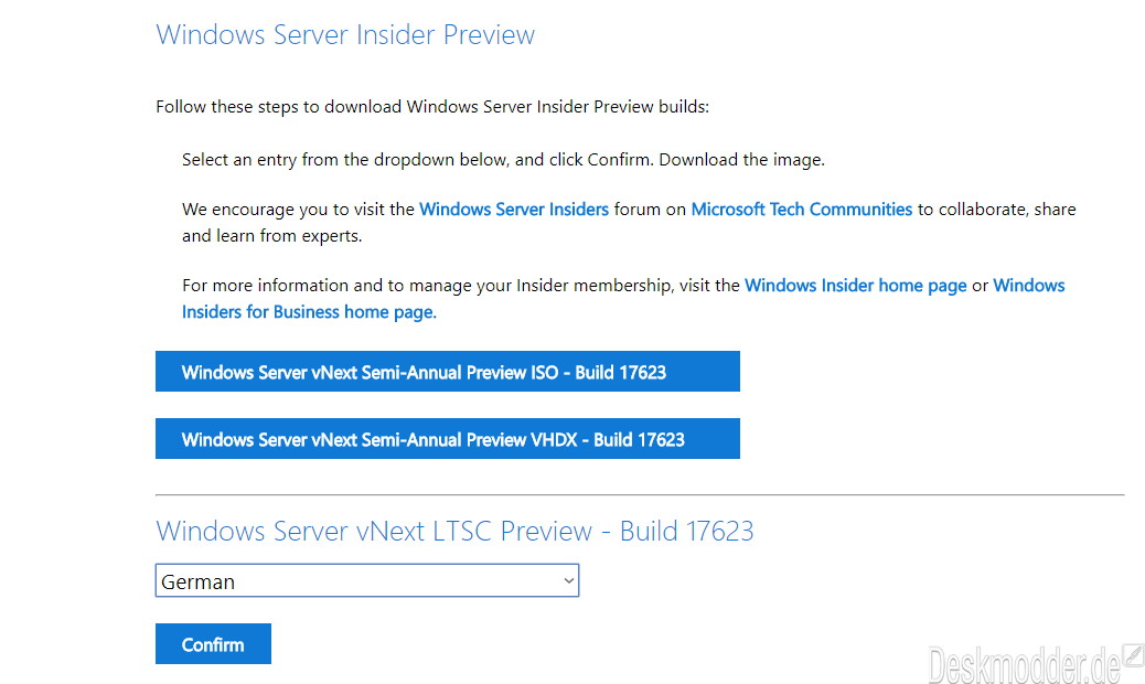 Windows Server 2019, Preview im Windows Insider-Programm