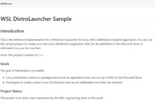 WSL Sample von Microsoft als Open Source für Linux Distributionen bereitgestellt