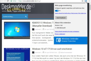 Chrome Erweiterung: Windows Defender Browser Protection