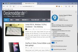 Country Flags & IP Whois als Erweiterung für den Microsoft Edge