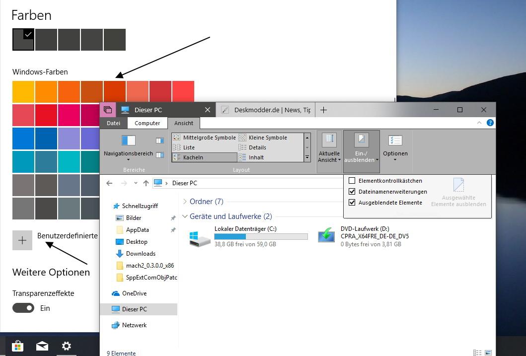 Dieser PC: Ribbon Menü Einträge nicht lesbar - Windows 10 1809 ...
