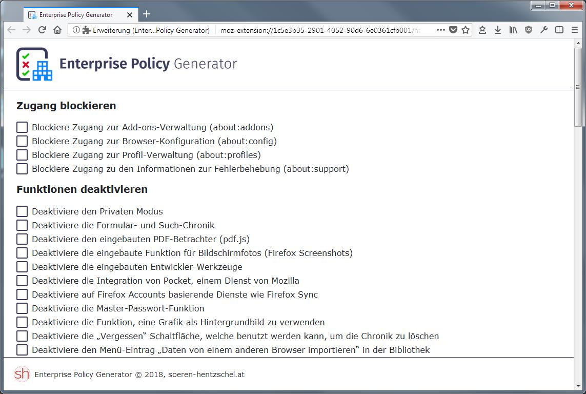 Firefox Addon: Enterprise Policy Generator