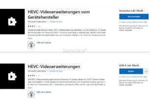 HEVC-Videoerweiterungen im Microsoft Store – Es gibt zwei davon einmal kostenlos und einmal für 0,99 Euro