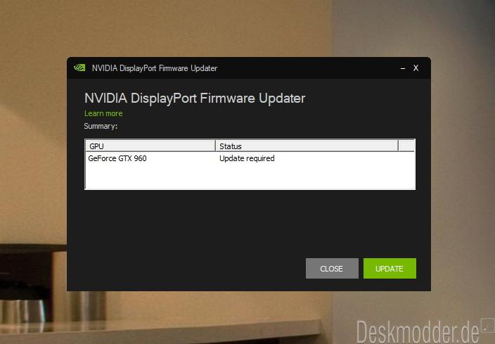 NVIDIA Grafik Firmware Update Tool für DisplayPort 1 3 und