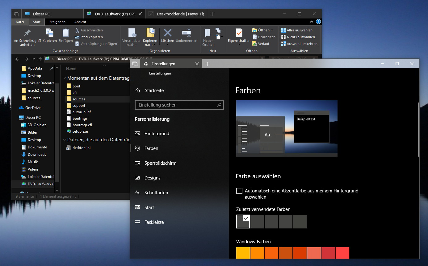 Windows 10 Explorer Dunkel