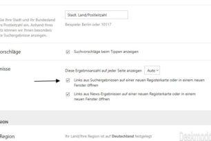 Bing Suche – Ergebnisse im neuen Tab öffnen lässt sich in den Einstellungen aktivieren
