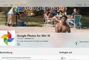 Google Apps für Windows 10 aus dem Store verschwunden