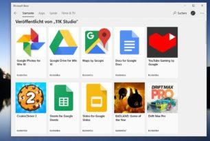 Google Drive, Docs, Photos Apps im Microsoft Store für Windows 10 und auch Mobile