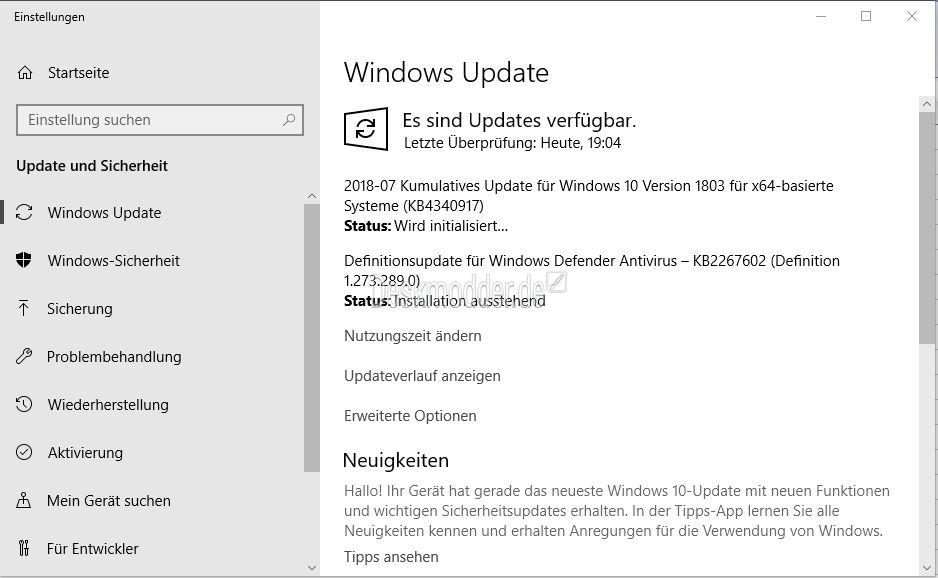 KB4340917 Windows 10 17134 191 (Manueller Download) | 24 07