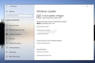 Windows 10 17744 steht im Fast Ring bereit