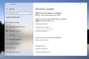 Windows 10 18219 (19H1) steht für die Skip Ahead Insider bereit