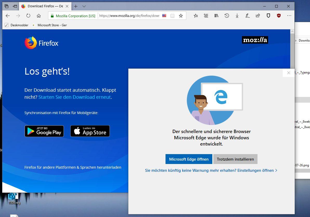 Windows 10 1809 Warnt Bei Der Installation Vom Firefox Oder Google