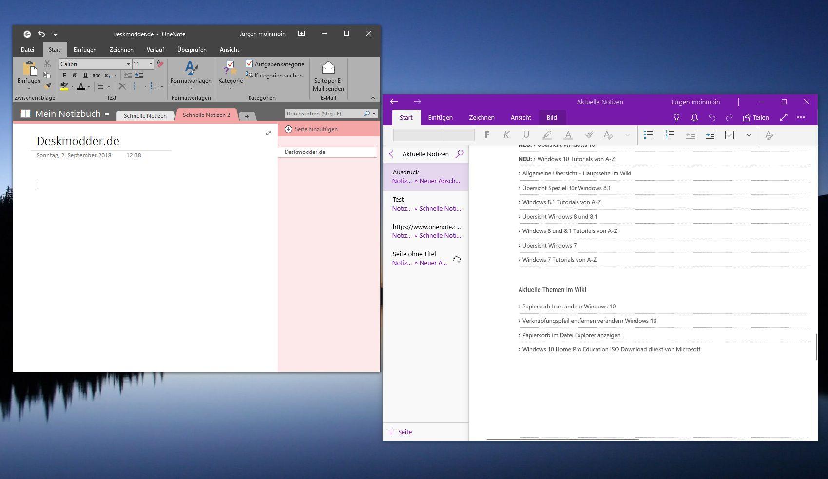 OneNote 2016 als Desktop Programm herunterladen, da sie in