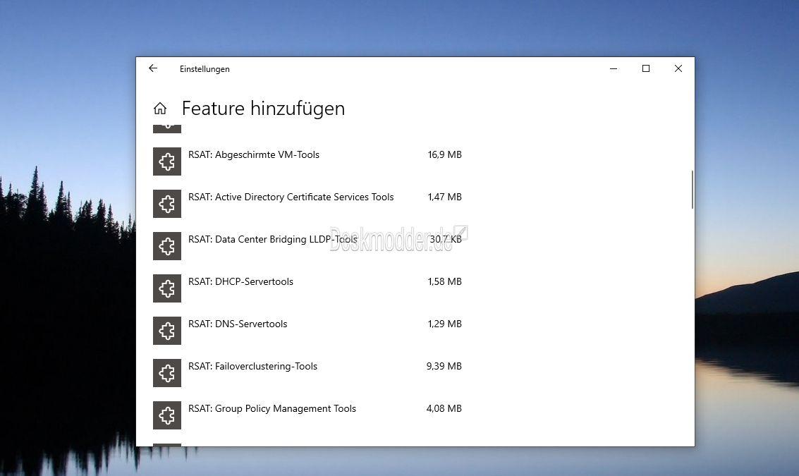 RSAT Tools Windows 10 1809 Download erfolgt jetzt über die