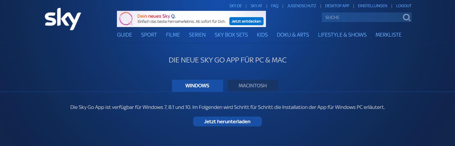 Sky Go Für Windows 7