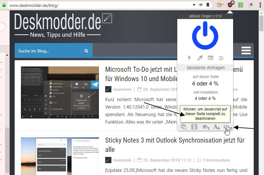 uBlock Origin 1 17 0 blockiert nun auch JavaScript | Deskmodder de