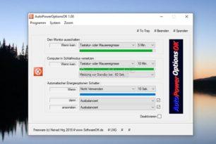 AutoPowerOptionsOK – Monitor ausschalten, Energie sparen und mehr wenn der PC nicht genutzt wird