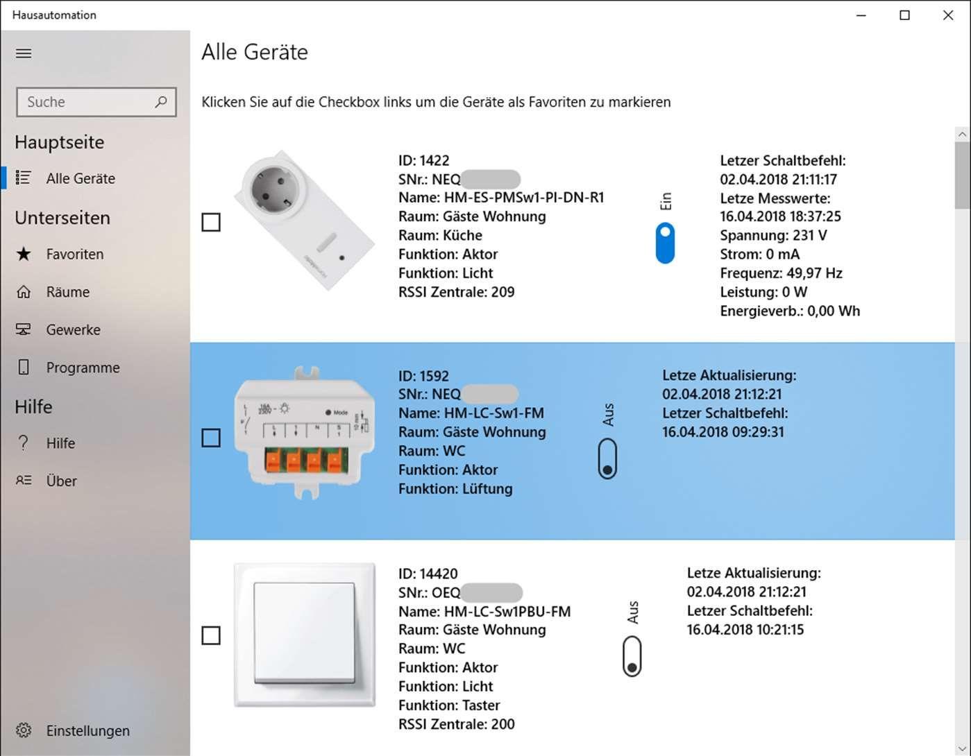 Hausautomation Windows 10 App Fur Die Homematic Zentrale Ubersicht