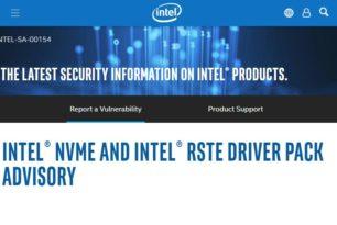 Intel NVMe und RSTe Treiberpaket Hinweis – Sicherheitslücke in älteren Treibern