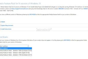 Media Feature Pack Windows 10 1809 (17763) für die N-Versionen sind wieder da