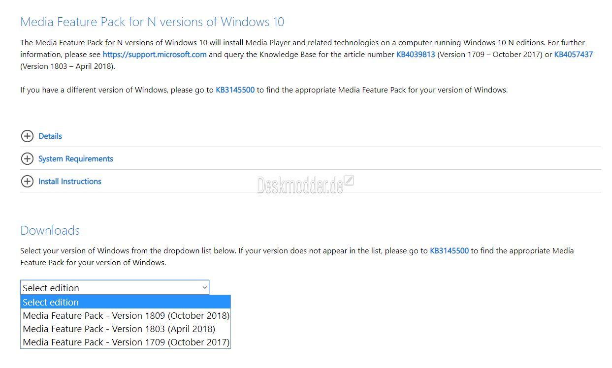Media Feature Pack für Windows 10 N Version 1903 …