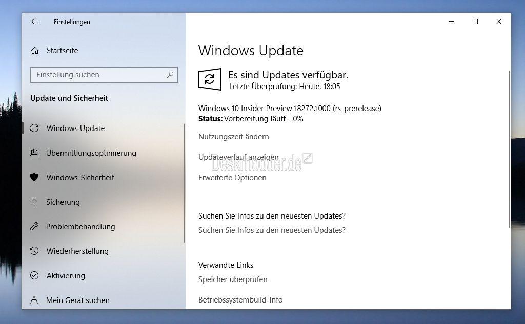 Windows 10 18272 steht (auch als ISO) für die Insider im Fast und
