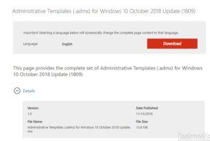 Administrative Templates (.admx) Windows 10 1809 stehen zum Download bereit