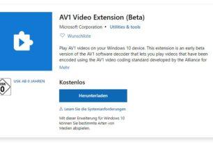 AV1 Video Erweiterung (Beta) steht im Microsoft Store zum Download bereit