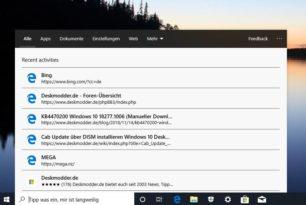 Getrennte Suche in der Windows 10 1903 einmal angeschaut