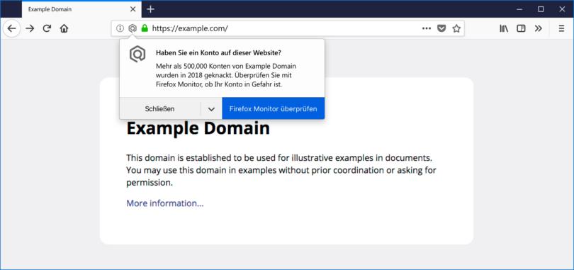 Benachrichtigung in Firefox