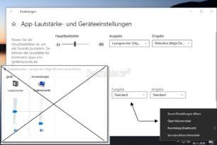 Lautstärkemixer öffnet die Einstellungen in der Windows 10 1903 (ab 18272)
