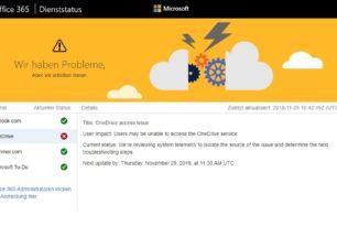 OneDrive aktuell mit Verbindungsproblemen