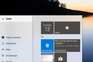 Windows 10 1903 – Microsoft testet wieder Schatten hinter den Menüs
