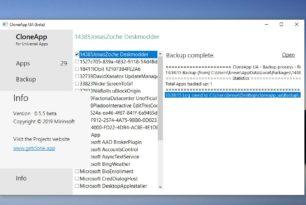 CloneApp UA Backup von Windows 10 Apps erstellen