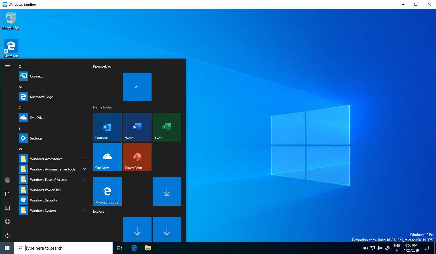 windows 10 182323 sandbox mit den originalen office icons