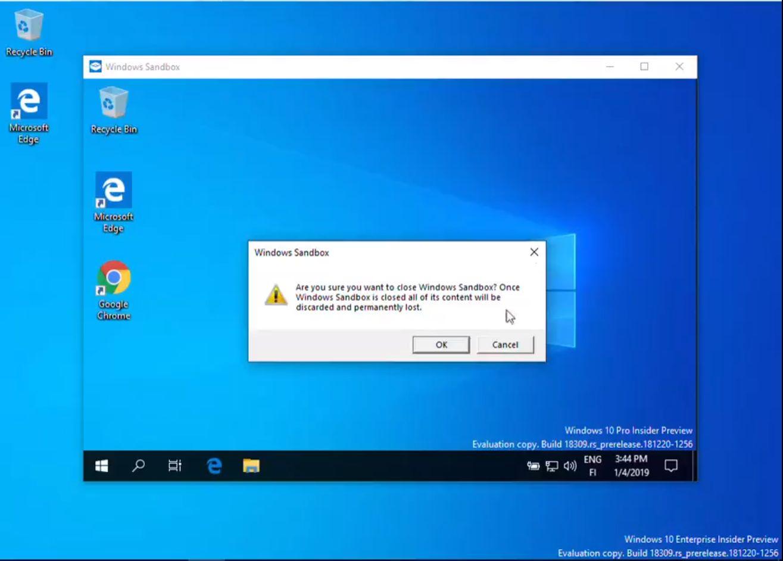 Windows 10 1903 sandbox install