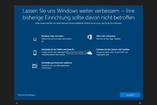 """Windows 10 1903 startet mit Fenster """"Lassen Sie uns Windows weiter verbessern"""""""