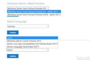 Windows Server 18317 steht als ISO oder VHDX bereit